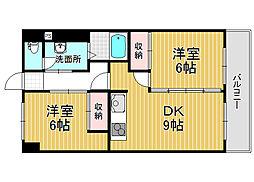 上所マンションA[4階]の間取り