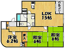 兵庫県宝塚市雲雀丘山手2丁目の賃貸マンションの間取り