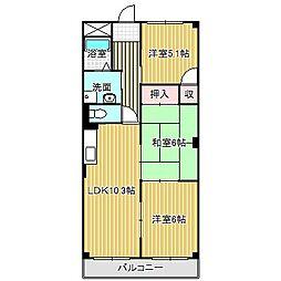 愛知県名古屋市中川区昭明町1丁目の賃貸マンションの間取り