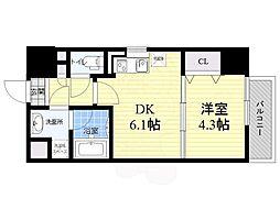 サムティガーデン江坂1 9階1DKの間取り
