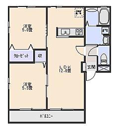 ハニーハイツA[1階]の間取り