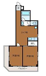 神奈川県川崎市麻生区上麻生7丁目の賃貸マンションの間取り
