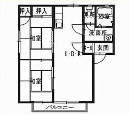 兵庫県姫路市飾磨区中野田1丁目の賃貸アパートの間取り