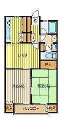 埼玉県川越市牛子の賃貸アパートの間取り