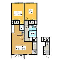 岐阜県各務原市那加東新町2丁目の賃貸アパートの間取り