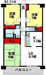 福岡県太宰府市朱雀1丁目の賃貸マンションの間取り