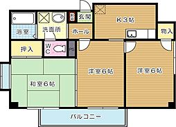 サンヒルズ皇后崎[2階]の間取り