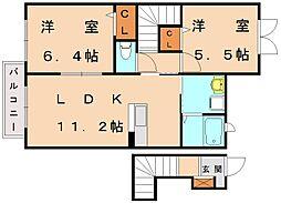 ルミエールパル新宮[2階]の間取り