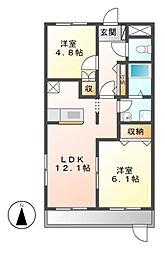 愛知県名古屋市中川区戸田2丁目の賃貸アパートの間取り
