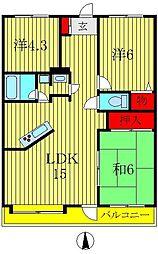 エスポワール八柱[703号室]の間取り