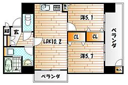 八峯閣ビル[6階]の間取り