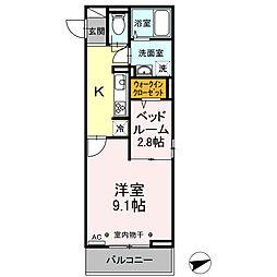 JR中央本線 甲府駅 徒歩12分の賃貸アパート 2階1LDKの間取り