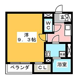 アーバンフォレ青井 1階1Kの間取り