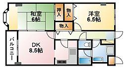 千葉県東金市東上宿の賃貸マンションの間取り