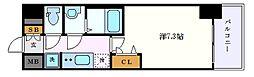プレサンス栄フェル 6階1Kの間取り