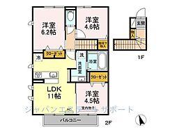 D-room花畑 弐番館[202号室]の間取り