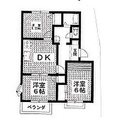 岡村ハイツ矢場 B[102号室]の間取り