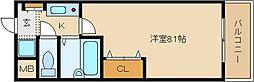 大阪府八尾市二俣1丁目の賃貸マンションの間取り