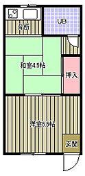 ハイツミドリ[3階]の間取り