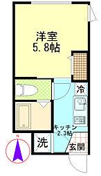 東京都足立区栗原2丁目の賃貸アパートの間取り
