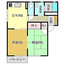 ラフィーネ当麻弐番館A[2階]の間取り