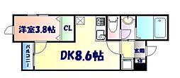 仙台市地下鉄東西線 川内駅 徒歩18分の賃貸マンション 3階1DKの間取り