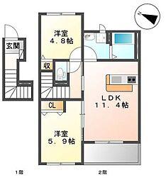 味間南1新築アパート[2階]の間取り