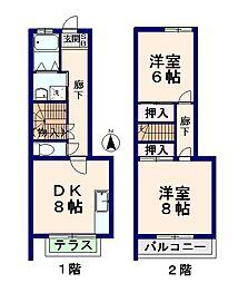 [テラスハウス] 東京都杉並区和田2丁目 の賃貸【/】の間取り