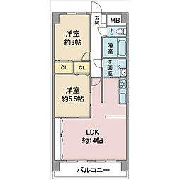 愛知県名古屋市守山区川北町の賃貸マンションの間取り