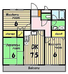 グリーンハイツ横田II[2階]の間取り