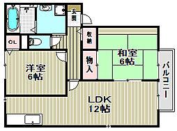 セジュール金岡[2階]の間取り
