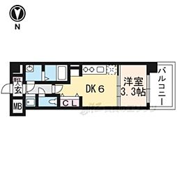 THE GARNET MILLENNIUM KYOTO九条烏丸604 6階1DKの間取り