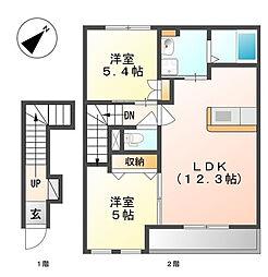 クレアハイムII[2階]の間取り