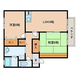 JR桜井線 長柄駅 徒歩16分の賃貸アパート 2階2LDKの間取り