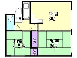 岡田マンション 2階2LDKの間取り