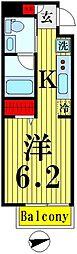 (仮)業平五丁目計画 4階1Kの間取り