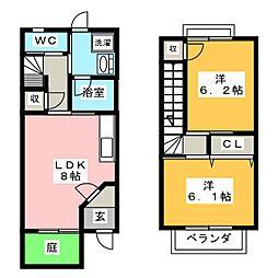 [テラスハウス] 岐阜県羽島市竹鼻町蜂尻 の賃貸【/】の間取り