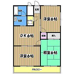 東京都青梅市河辺町6丁目の賃貸マンションの間取り