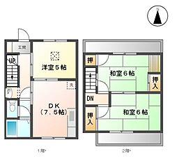 愛知県清須市西枇杷島町西六軒の賃貸アパートの間取り