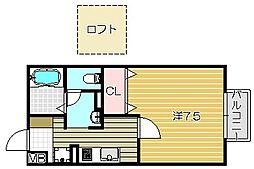 大阪府高槻市南松原町の賃貸アパートの間取り