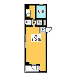 弥生コーポシエスタ 3階ワンルームの間取り