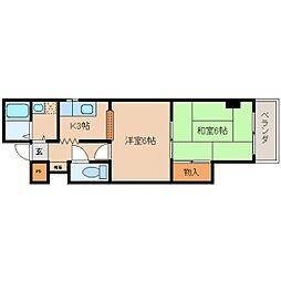 奈良県奈良市西寺林町の賃貸マンションの間取り