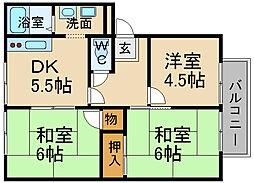 兵庫県川西市小戸3丁目の賃貸アパートの間取り