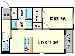 仮称 東淀川小松4丁目ヘーベルメゾン 2階1LDKの間取り