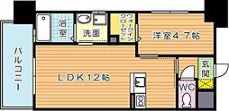 福岡県北九州市若松区北湊町の賃貸マンションの間取り