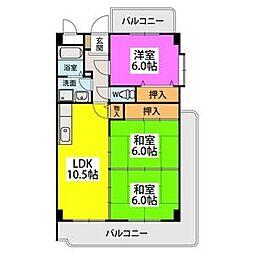 エクセレント塩浜II 2階3LDKの間取り