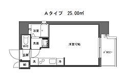 DL 心斎橋 6階ワンルームの間取り