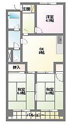 リバーサイドマンション[6階]の間取り