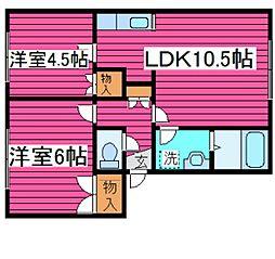 北海道札幌市北区篠路十条2丁目の賃貸アパートの間取り