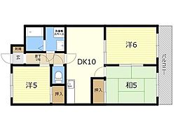 JR日豊本線 国分駅 徒歩20分の賃貸マンション 2階3LDKの間取り